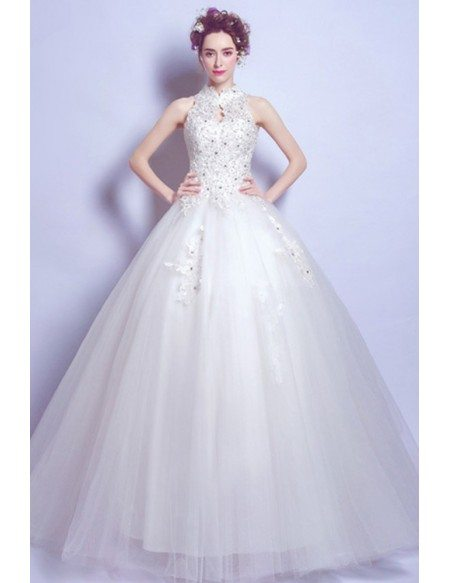 Retro Cheap Tulle Lace Ball Gown Bridal Dress With High Neck