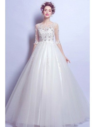 Inexpensive Elegant Sleeve Ballroom Bridal Gown With Lace Beading Bodice