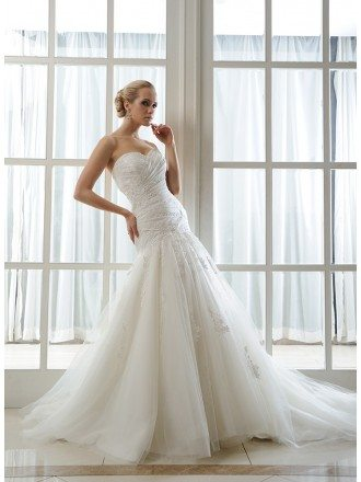 Mermaid Sweetheart Chapel Train Tulle Wedding Dress With Beading Pleated Appliques Lace