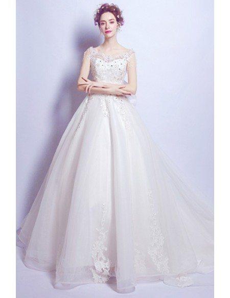 Goddess Lace Beading Ballroom Train Wedding Dress With Big Bow Back