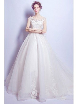 Goddess Lace Beading Ballroom Train Wedding Dress With Big Bow Back