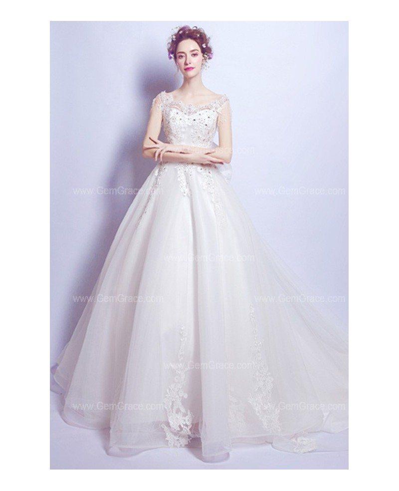 Goddess Wedding Gown: Goddess Lace Beading Ballroom Train Wedding Dress With Big