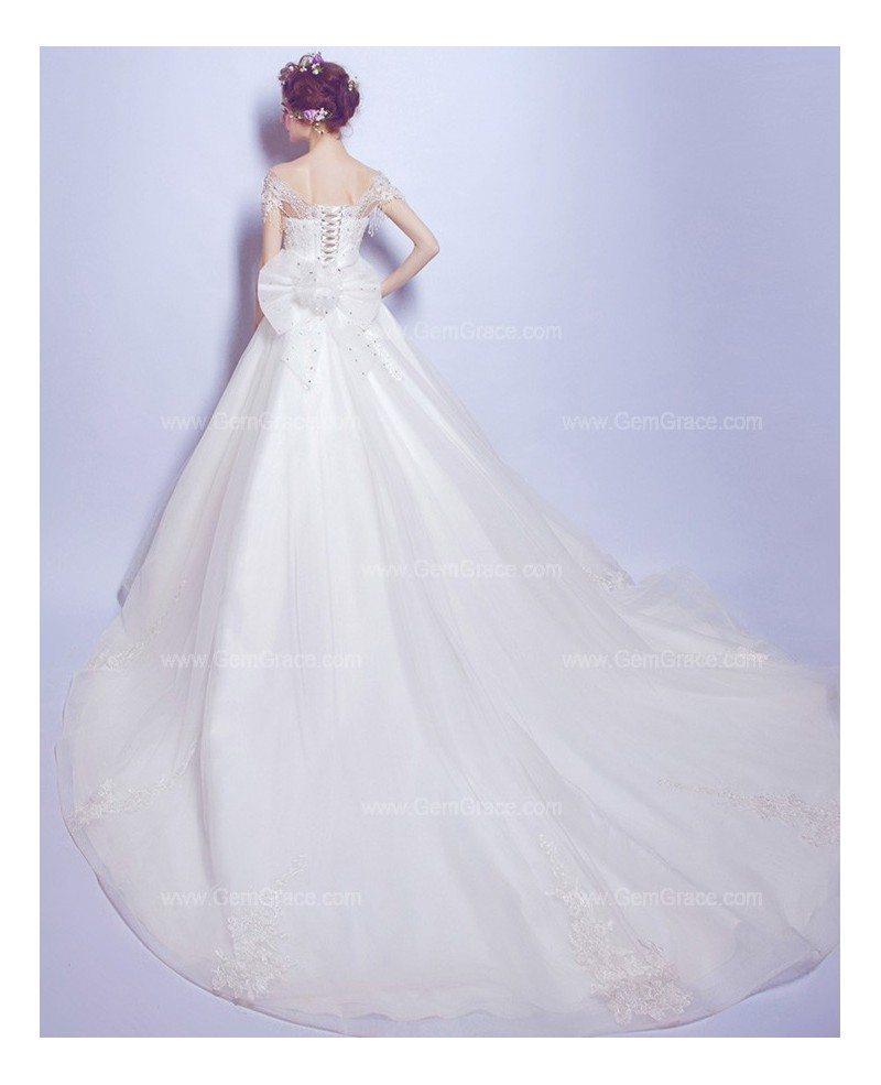 Ballroom Gown Wedding Dresses: Goddess Lace Beading Ballroom Train Wedding Dress With Big