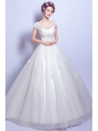Gorgeous Lace Beading Ball Gown Bridal Dress With Cold Shoulder Sleeves