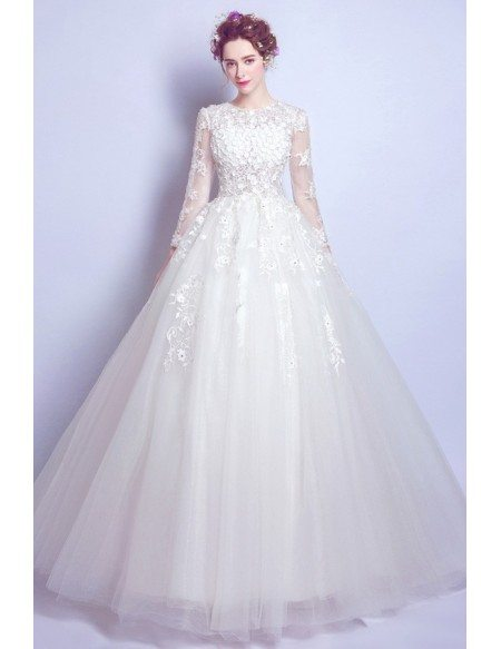 Romantic Flower Lace Ball Gown Wedding Dress With Modest Long Sleeves Wholesale T69539 Gemgrace Com
