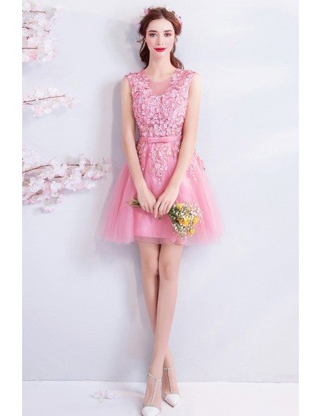 Super Cute Pink Flowers Short Tulle Party Dress Sleeveless