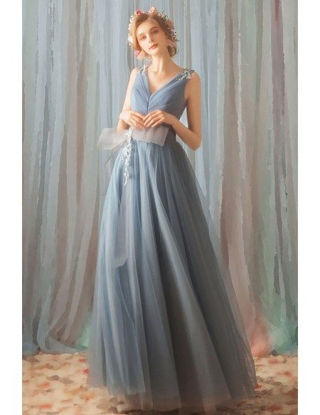 Different Dusty Blue Long Tulle Prom Dress V-neck With Big Bow