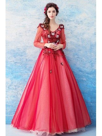 Fairy Red Tulle Butterfly A Line Prom Dress Long With Sleeves