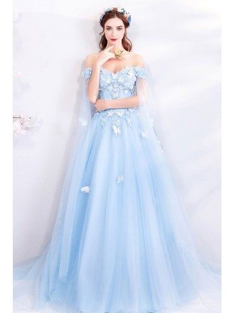 Dreamy Fairytale Blue Tulle Long Prom Dress Off Shoulder With Butterflies