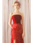 Slim Long Red Strapless Wedding Party Dress With Flowers High Slit