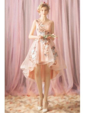 Cute Pink Floral High Low Short Prom Party Dress With Petals