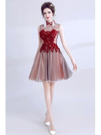 Red With Black Tulle Short Prom Dress With High Neck Beading