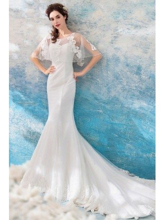 Slim Long Tight Mermaid Wedding Dress With Cape Sleeves Long Train
