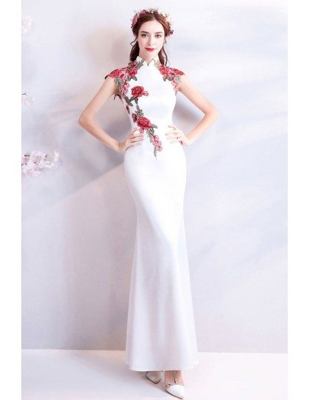 Chinese Retro Cheongsam Style Long White Formal Dress With Flowers
