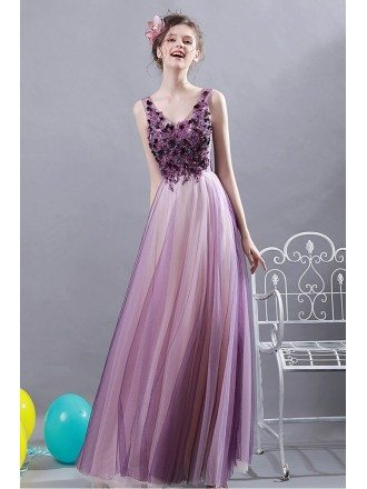 Ombre Purple Tulle A Line Long Prom Dress With Appliques