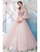Dreamy Butterfly Sleeve Pink Prom Dress Ball Gown With Flowers