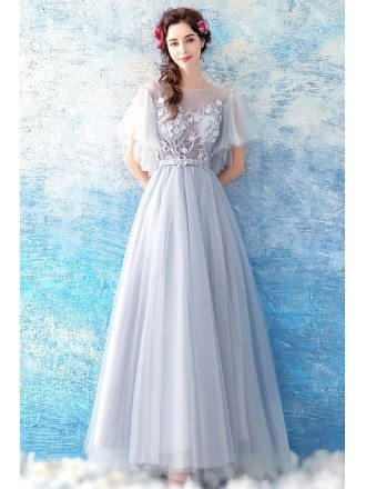 Flowy Grey Long Tulle A Line Prom Dress With Butterfly Sleeves