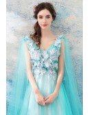 Gorgeous Aqua Blue Long Tulle Prom Dress A Line With Cape