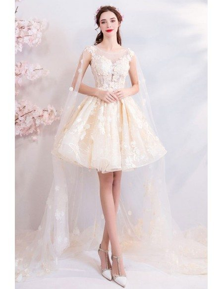 Dreamy Champagne Floral Tulle Tutus Party Dress With Cape Train