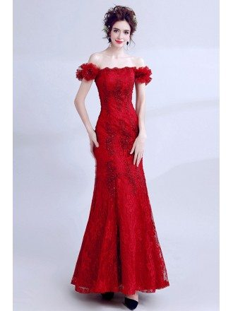 Pretty Long Red Lace Mermaid Prom Dress Tight With Off Shoulder
