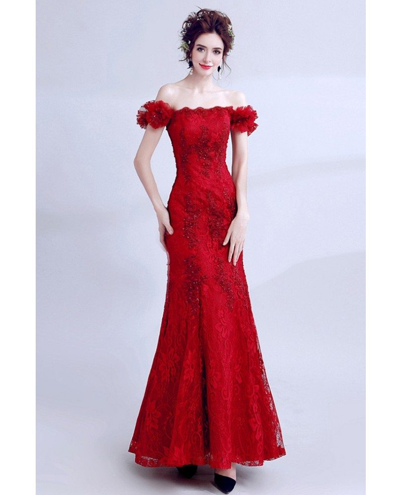 Mermaid Cocktail Dress: Pretty Long Red Lace Mermaid Prom Dress Tight With Off