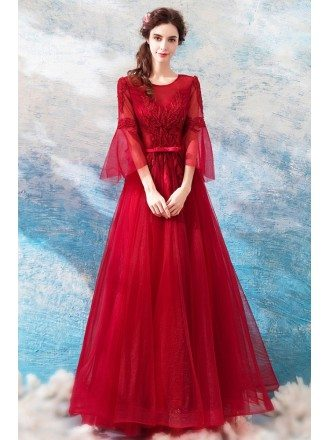 Burgundy Long Red Formal Party Dress A Line With Bell Sleeves