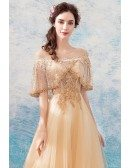 Luxury Champagne Gold A Line Tulle Formal Dress With Beaded Sleeves