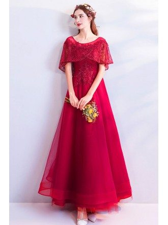 Burgundy Maxi Long Red Tulle Party Dress With Beaded Sleeves