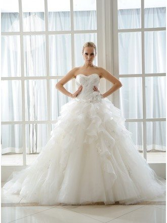 Ball-Gown Sweetheart Court Train Organza Wedding Dress With Beading Appliques Lace Cascading Ruffles