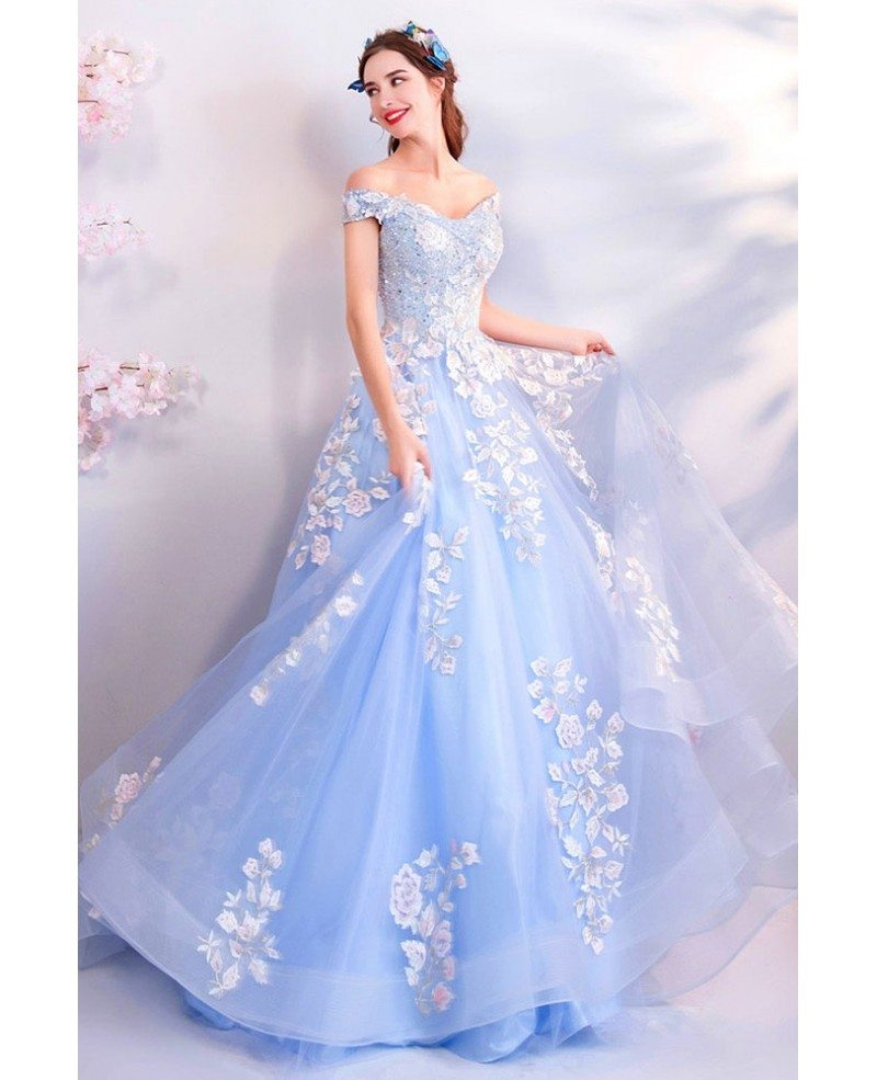Fairy Light Blue Ball Gown Prom Dress Formal With Off Shoulder Flowers  Wholesale T69226 , GemGrace.com