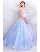 Fairy Light Blue Ball Gown Prom Dress Formal With Off Shoulder Flowers