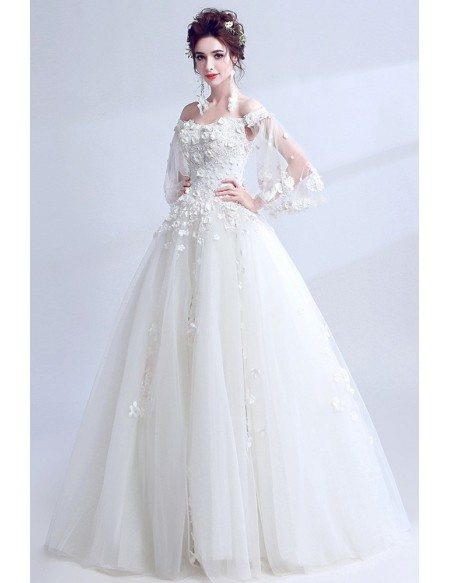 Dreamy White Off Shoulder Ball Gown Wedding Dress With Cape Sleeves