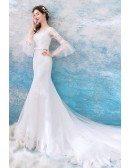 Fancy Mermaid Long Train Tight Wedding Dress With Bell Sleeves