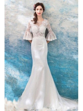 Slim Ivory Lace Fitted Mermaid Wedding Dress With Lace Sleeves