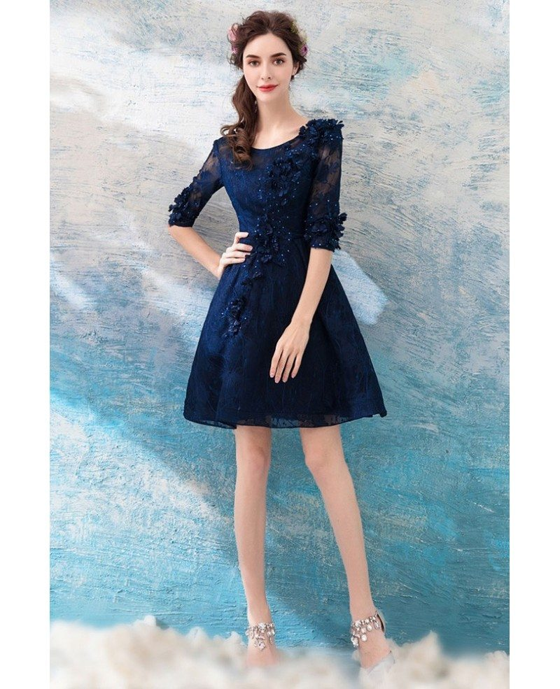 Modest Navy Blue Lace Short Prom Party Dress With Half Sleeves Wholesale T69231 Gemgracecom