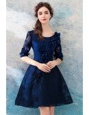 Modest Navy Blue Lace Short Prom Party Dress With Half Sleeves