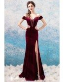 Sexy Burgundy Velvet Mermaid Tight Prom Dress With Slit Off Shoulder