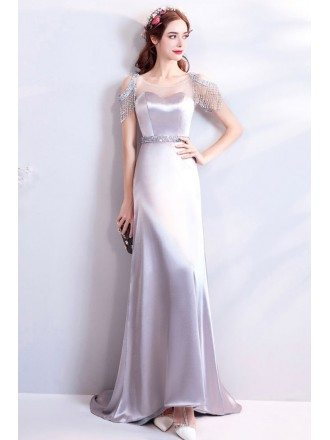 Classy Silver Satin Long Formal Evening Dress With Bling
