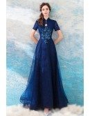 Elegant Navy Blue A Line Tulle Formal Party Dress With Short Sleeves