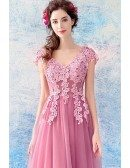 Flowy Pink Tulle Long Prom Dress With Appliques Lace Cap Sleeves