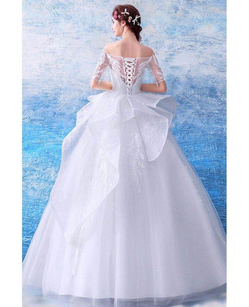 Ruffled Ball Gown Wedding Dress: Gorgeous Off Shoulder Ruffled Wedding Dress Ball Gown With