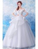 Gorgeous Off Shoulder Ruffled Wedding Dress Ball Gown With Sleeves