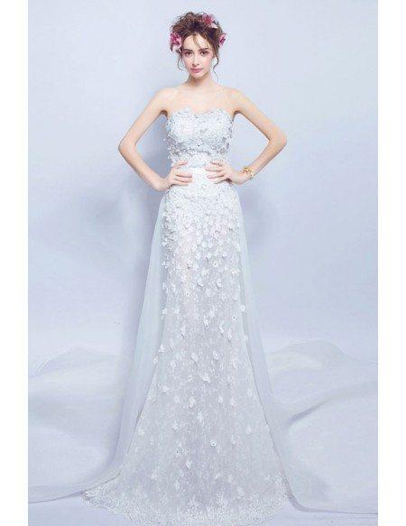 Flowy Long Flowers Slim Wedding Dress Strapless With Train