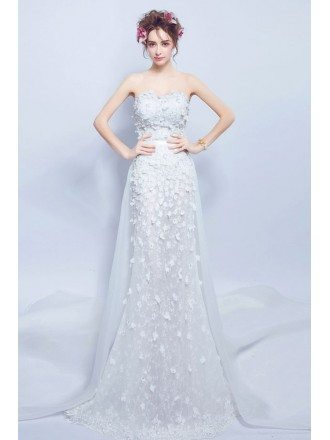 Flowy Long Flowers Slim Wedding Dress Strapless With Train