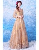 Sparkly Gold A Line Long Formal Dress With Long Sleeves
