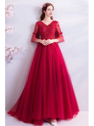Elegant Burgundy Long Red Tulle Wedding Party Dress With Sleeves
