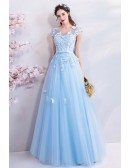 Fairy Blue Long Tulle Prom Dress A Line With Butterflies Cap Sleeves