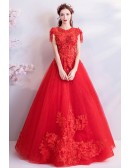 Formal Red Appliques Ball Gown Prom Dress With Keyhole Back