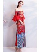 Unique Chinese Dragon Totem Formal Party Dress Off Shouler Sleeves