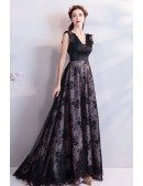 Elegant Formal Long Black Lace Prom Dress A Line Sleeveless